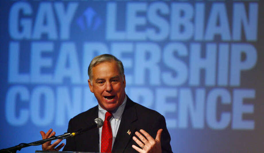 Howard Dean, chairman of the National Democratic Party, delivers the keynote speech at the four-day International Gay and Lesbian Leadership Conference on Saturday. Photo: Steve Ueckert, Chronicle