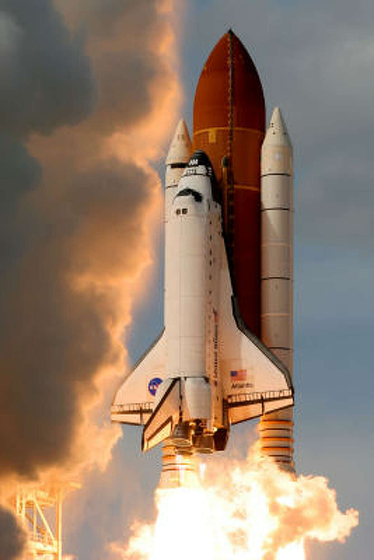 Space Shuttle Atlantis lifts off from launch pad 39-A at the Kennedy Space Center in Cape Canaveral, Florida. Atlantis is scheduled for a 11-day mission to the International Space Station.