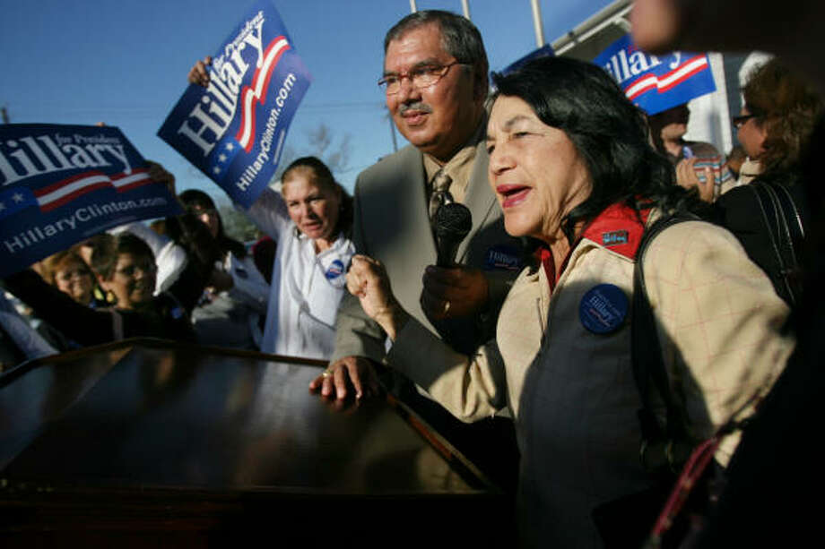 State Sen. Mario Gallegos and civil rights activist Dolores Huerta in Houston, 2008. Photo: Mayra Beltran, Chronicle