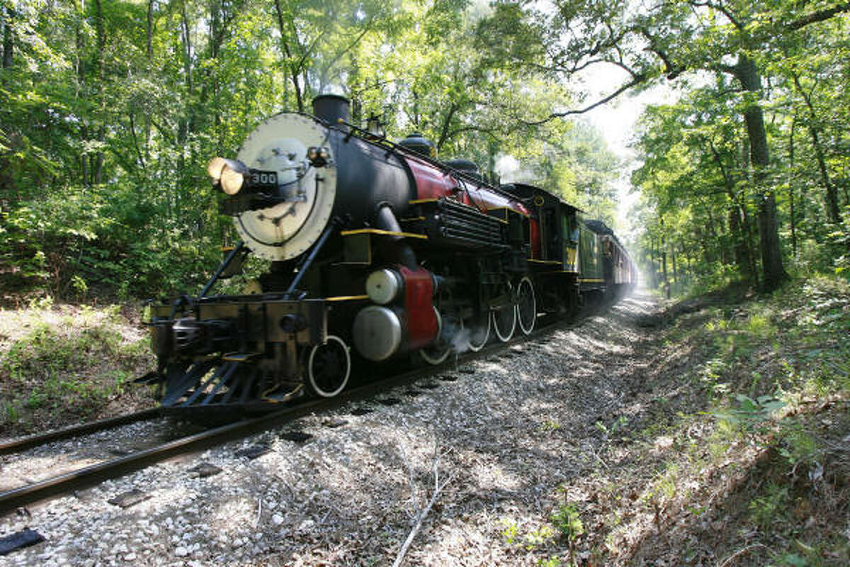 A train leaves the station at the Texas State Railroad State Park in Rusk. The railroad has operated for 110 years.