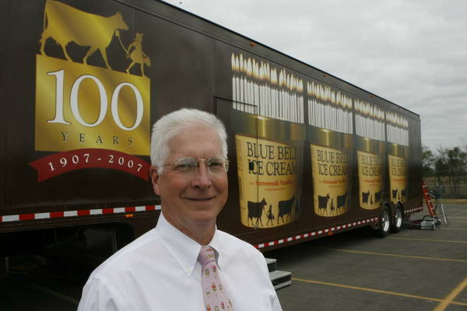 Blue Bell CEO and President Paul Kruse is sending the truck behind him to 66 cities in 2007 to celebrate the company's birthday. Photo: Steve Campbell, Chronicle