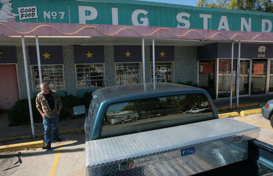 Rusty Grindle, 63, of Houston is disappointed to find the Pig Stand closed where he has eaten for 45 years on a regular basis. The restaurant closed after the owners filed for bankruptcy. Photo: Mayra Beltran, Chronicle