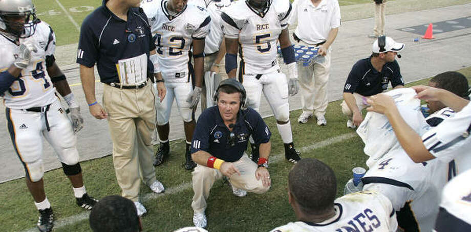 Rice coach Todd Graham pulled off an amazing rebuilding job on South Main, earning the nod for coach of the year over also deserving Art Briles of UH. Photo: REINHOLD MATAY, AP