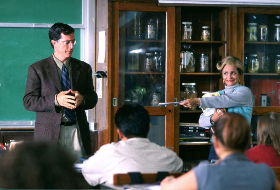 A 47-year-old ex-con (Amy Sedaris, right) decides to turn her life around by returning to high school and paying attention to her teacher (Stephen Colbert), in Strangers with Candy. Photo: ThinkFilm
