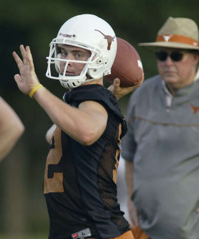 Texas redshirt freshman quarterback Colt McCoy, left, has his sights set on starting for the Longhorns this season. Photo: HARRY CABLUCK, AP