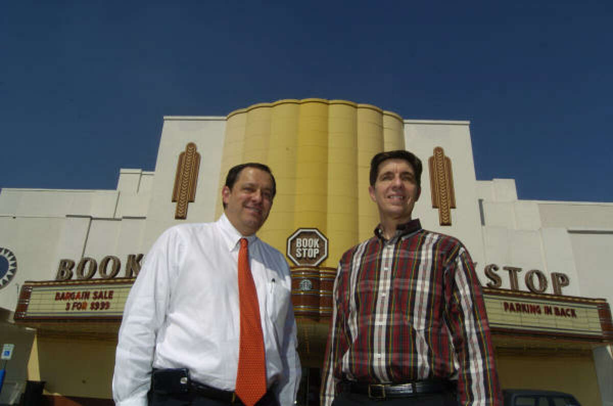 Paul Beutel, right, Miller Outdoor Theatre's artistic director, is trying to promote converting the former Alabama Theatre building, home of Bookstop, into a concert venue. Drew Alexander, left, runs Weingarten Realty Investors, which owns the property.