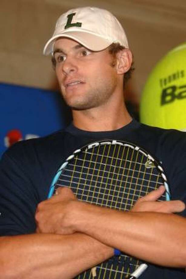 Tennis player Andy Roddick arrives at the Grand Slam in Grand Central event on Friday in Vanderbilt Hall of Grand Central Terminal, New York City. This event transforms the transportation hub into a full-day tennis festival featuring tennis stars and interactive activities. Photo: Brad Barket, Getty Images