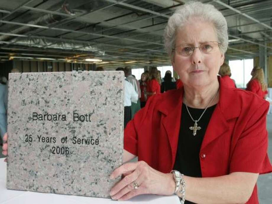 Barbara Bott, R.N., 66, was one of 33 people honored who have more than 25 years of service at Memorial Hermann Katy Hospital. Those employees each will have engraved memorial stones installed outside the new hospital set to open in December. Photo: Suzanne Rehak, For The Chronicle