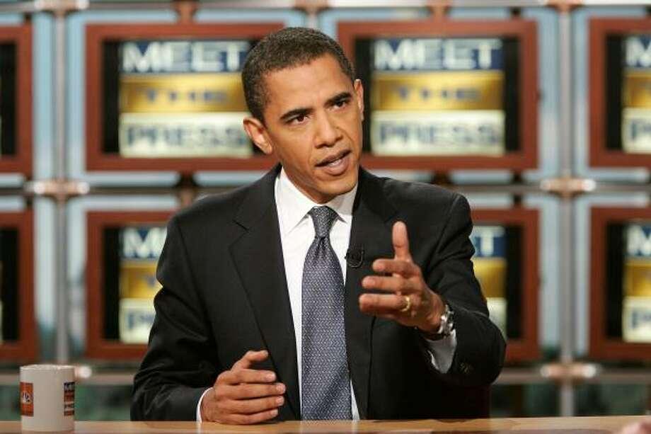 Sen. Barack Obama, D-Ill., appears on Meet the Press on Sunday at the NBC studios in Washington. Photo: ALEX WONG, AP