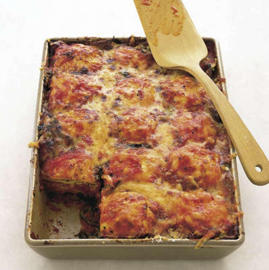 Instead of boiled noodles, this lasagna uses cheese ravioli, along with jarred sauce and bags of shredded cheese and frozen spinach. Photo: ANNA WILLIAMS, Real Simple Books