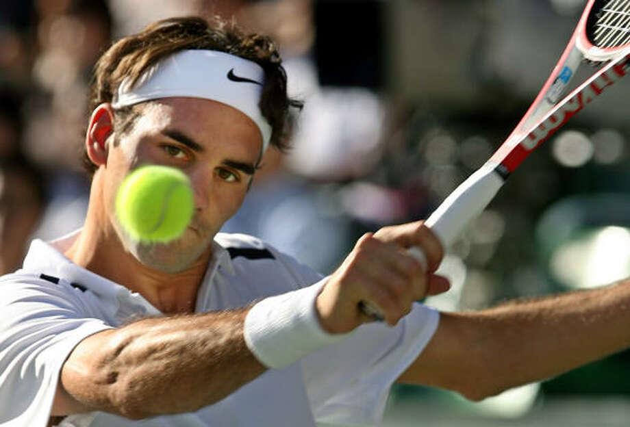 Swiss Roger Federer had all the answers for German Benjamin Becker during a semifinal win on Saturday. Photo: JUNJI KUROKAWA, AP