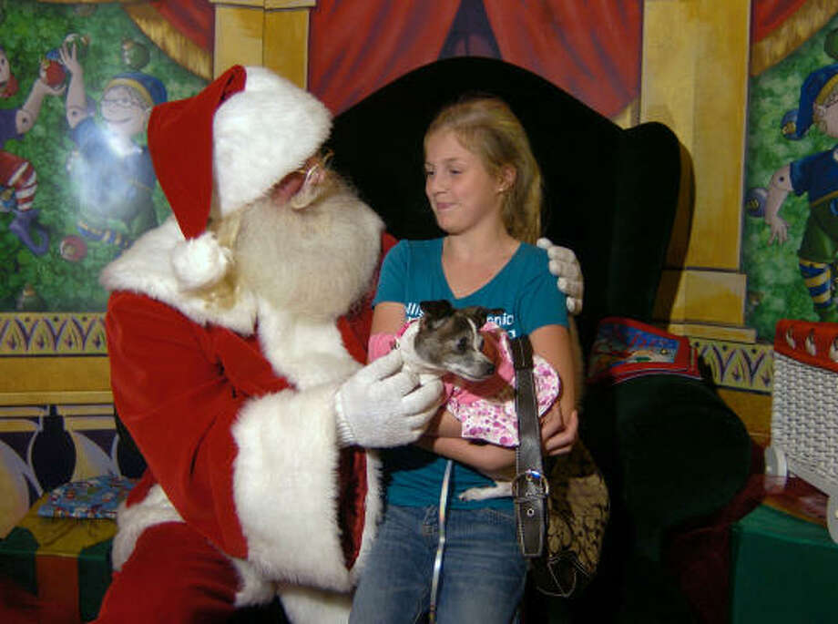 Morgan Dietz holds her dog, Looby, as she talks to Santa at The Woodlands Mall. Morgan is a pupil at Montgomery Intermediate School. Santa takes time from his normal duties to have his picture taken with family pets. Photo: David Hopper, For The Chronicle