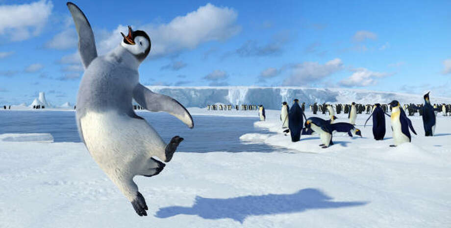 Unlike the other Emperor penguins, Mumbles (voiced by Elijah Wood) finds music in his tapping feet and not his beak, in Happy Feet. Photo: Warner Bros. Pictures