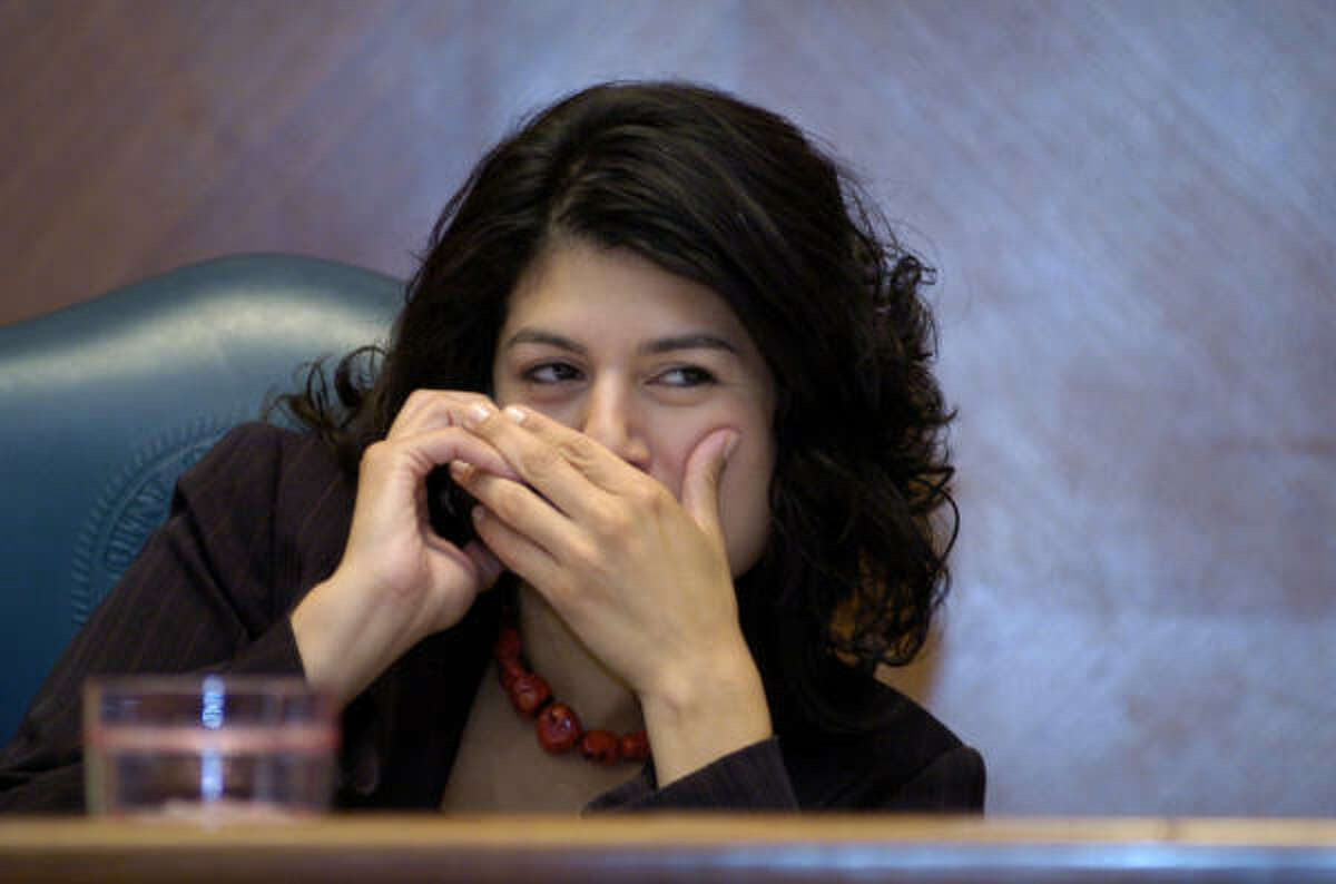 Carol Alvarado, taking a call during Wednesday's City Council meeting, says