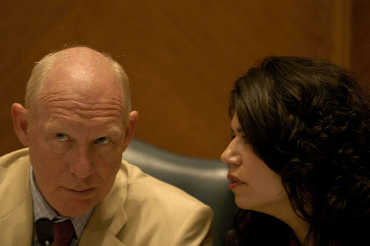 Carol Alvarado, chatting with Mayor Bill White at Wednesday's City Council meeting, is still the only council member with an open invitation to attend his senior staff meetings.