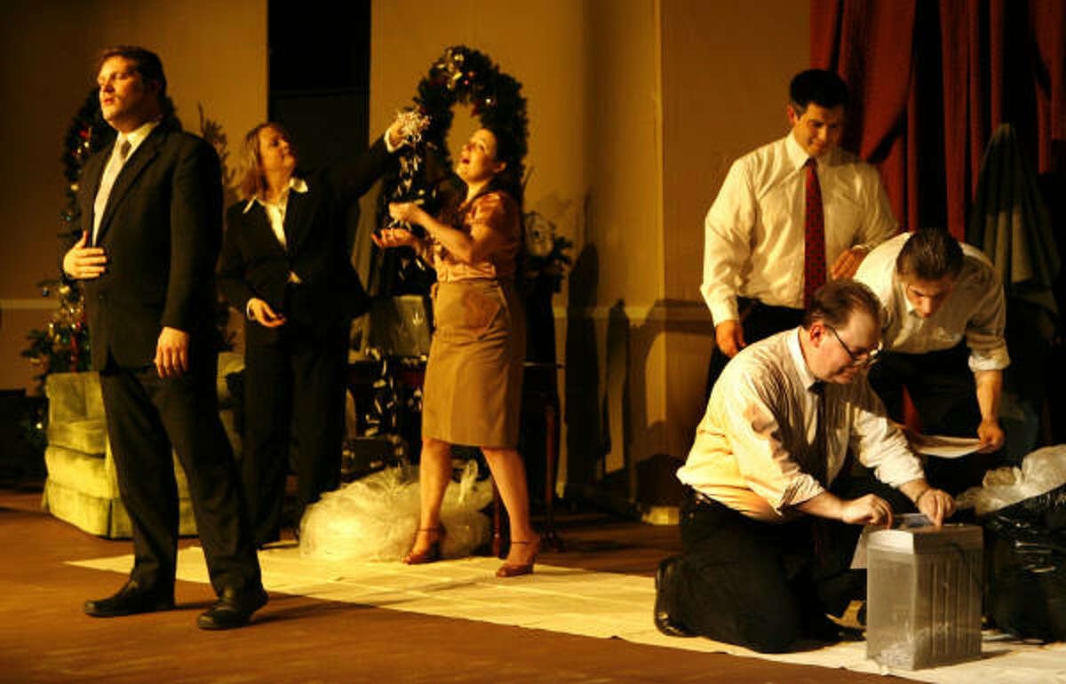 Enron - the Musical begins with a scene in which Arthur Anderson employees launch a paper-shredding frenzy after an alert from an Enron executive to destroy evidence, while one of the attorneys sings The Sound of Shredding (to the tune of The Sound of Music).