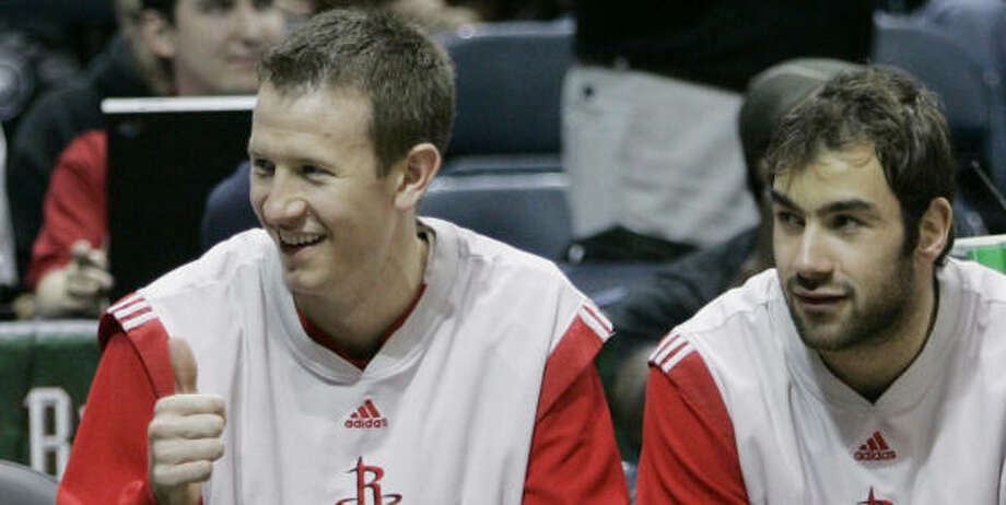 Forward Steve Novak, left, like fellow rookie Vassilis Spanoulis, values what playing time he gets. Photo: MORRY GASH, AP