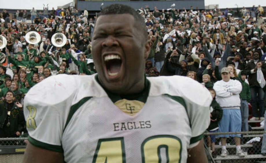 Cypress Falls High School senior defensive tackle Jerrod Black had plenty of reason to celebrate. Photo: Aaron M. Sprecher, For The Chronicle