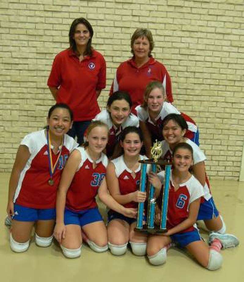 Bottom row from left: Kirsten Caleon, Aly Hudec, Courtney Cousino, and Raquel Carvajal; middle row from left, Rachel Sugrue, Jennifer Depinet, and Alexa Borromeo; top row from left, Coach Mary Margaret Eberhardt and St. Laurence Athletic Director and Coach Ula Stucka Photo: Courtesy St. Laurence School