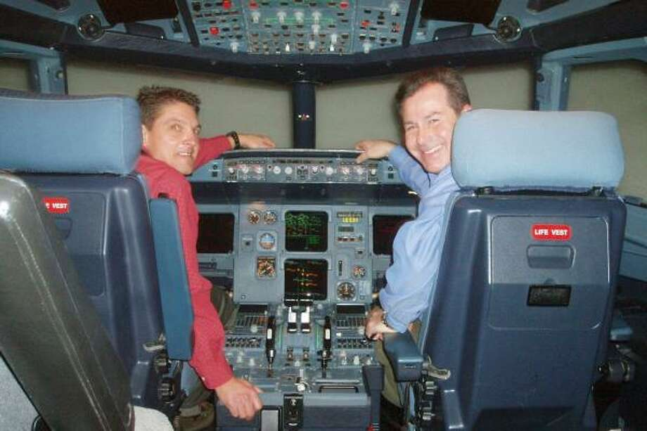 Pilots Ron Davis, left, and Jeff DePaolis use an Airbus 320 simulator on the ground to work through scenarios that would be far too dangerous to summon in a real airplane while in flight. Photo: DEL QUENTIN WILBER, Washington Post