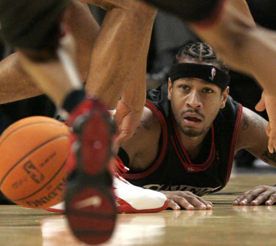Allen Iverson's run in Philadelphia came to an end Tuesday when he was traded to the Denver Nuggets. Photo: Nam Y. Huh, AP