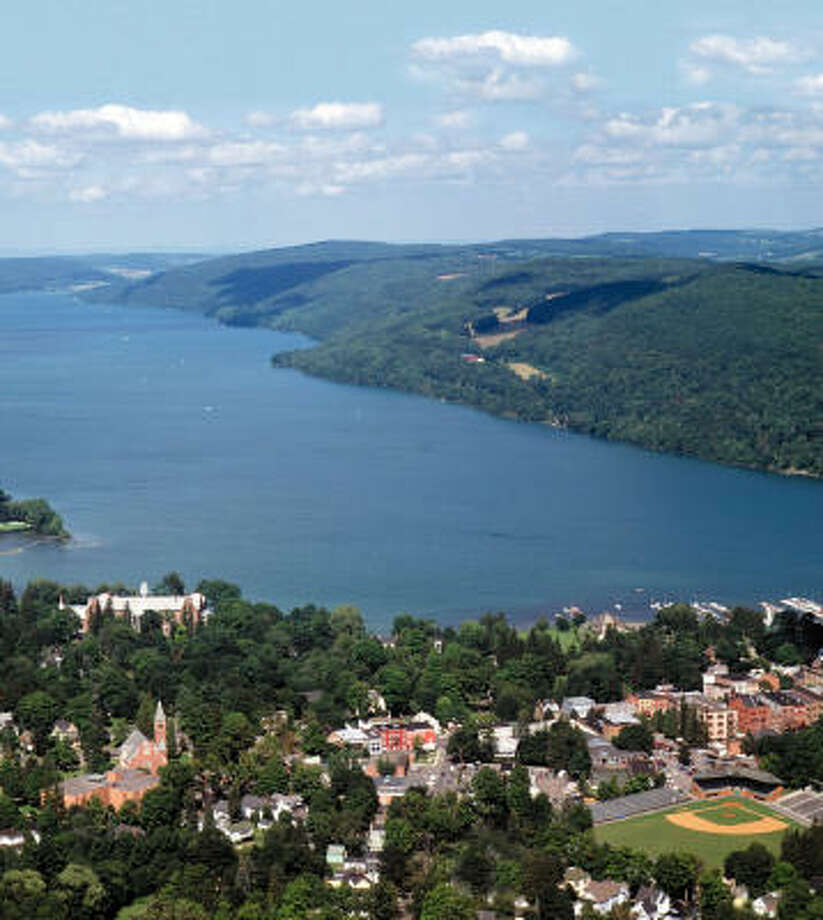 Cooperstown, N.Y., hugs the shores of Lake Otsego. The lake offers many recreational activities for visitors, including boating and fishing. Photo: NATIONAL BASEBALL HALL OF FAME