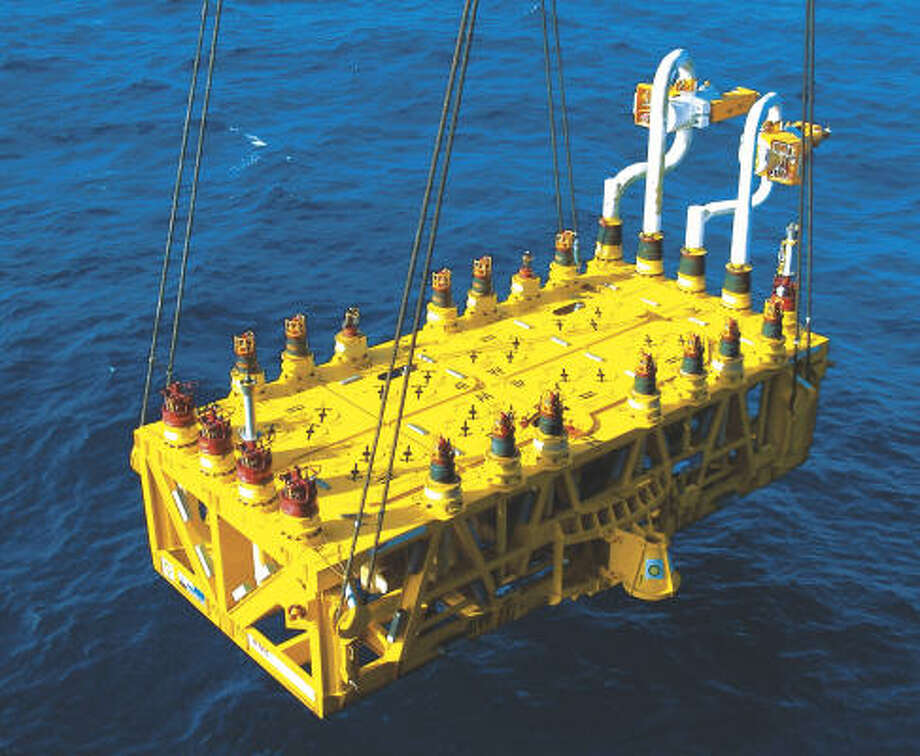 A manifold at BP's Thunder Horse oil and gas platform is deployed in this file photo. One of the four manifolds on the ocean floor failed, possibly the result of corrosion. Photo: Courtesy Of BP