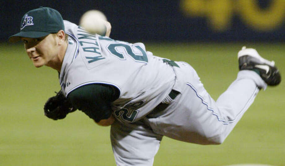 Soreness in his left shoulder will keep Devil Rays pitcher Scott Kazmir from making his next scheduled start. He also had a start pushed back because of neck stiffness after the All-Star break. Photo: PAUL BATTAGLIA, AP