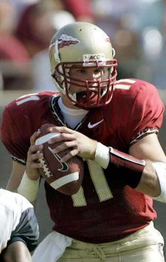 Florida State quarterback Drew Weatherford guided his offense to a 55-point effort against Rice. Photo: PHIL COALE, AP