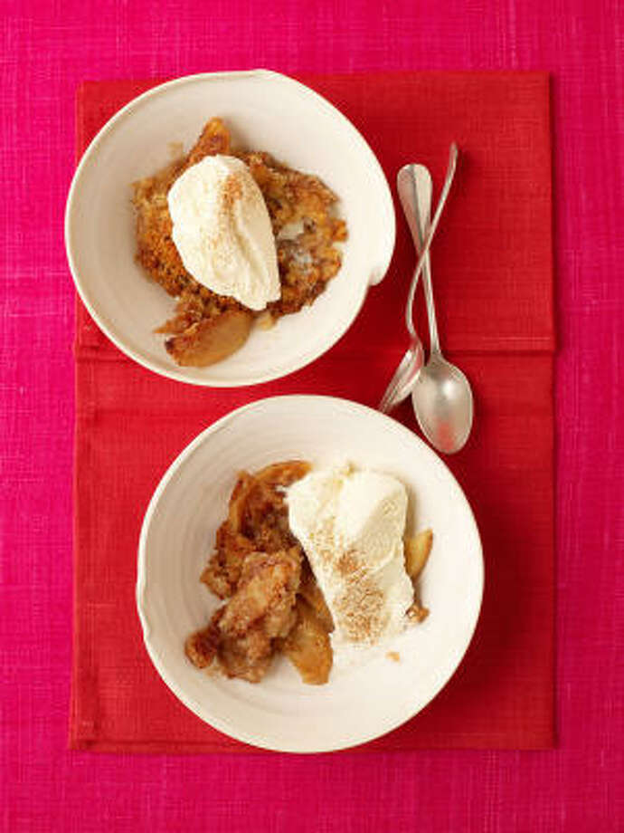 Fall is in the air with this dish of cinnamony apples topped with buttery crumbs. Photo: David Loftus, Everyday Food