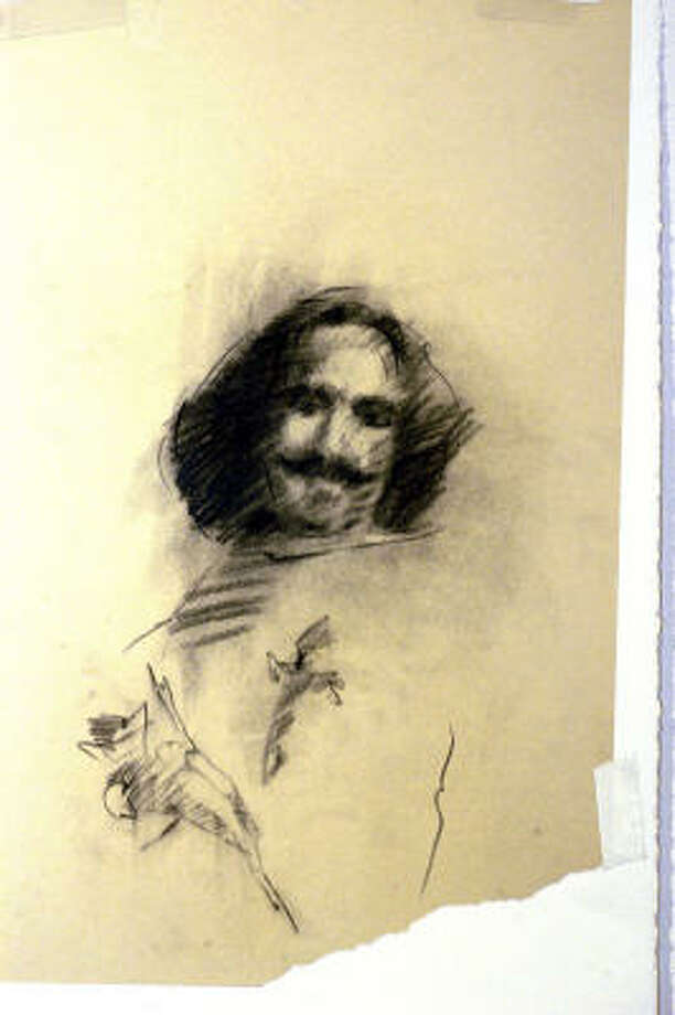 A sketch of Velazquez by James Drake at the Moody Gallery. Photo: Kim Christensen, For The Chronicle