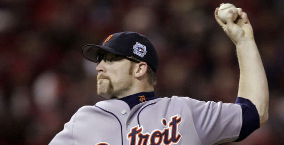 Tigers pitcher Nate Robertson delivered five scoreless innings during the Oct. 10 AL championship series game against the A's. Photo: Elise Amendola, AP
