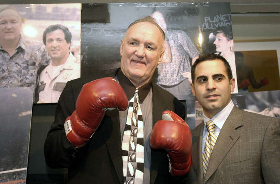 Chuck Wepner, left, who was the inspiration for Sylvester Stallone's Rocky, reached a settlement with the actor over compensation from the films. He is shown with his attorney, Anthony Mangone. Photo: KATHY WILLENS, AP File