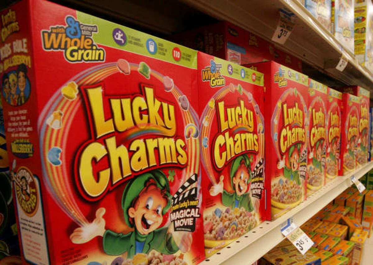 The modern version of the revered Lucky Charms leprechaun is featured on boxes of the cereal.