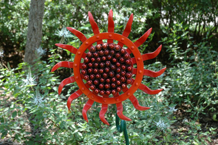 André Gandin's sunflower of found metal will be among artists' offerings at Mercer's Garden Faire. Photo: Mercer Arboretum & Botanic Garden