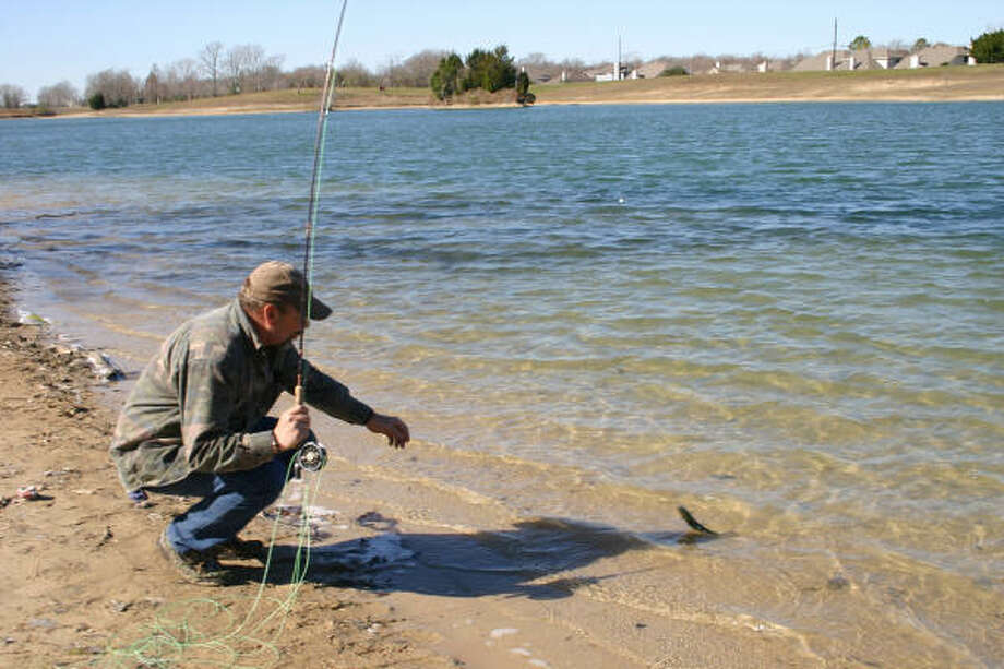 Small bead-head nymphs and light leaders are effective on rainbow trout in clear-water ponds. Photo: Joe Doggett, Chronicle