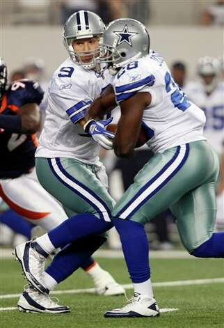 Dallas Cowboys quarterback Tony Romo hands the ball to Felix Jones during the first quarter of a preseason NFL football game Thursday, Aug. 11, 2011, in Arlington, Texas. (AP Photo/LM Otero) Photo: LM Otero, Associated Press / AP