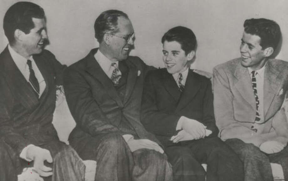 Joseph Kennedy Sr., second from left, groomed Joe Jr., left, to be president. After Joe Jr.'s death in World War II, the mantle fell on John Kennedy, far right. Sitting next to him is his brother Robert. The Kennedys are one of five presidential dynastic families profiled in Noemie Emery's Great Expectations: The Troubled Lives of Political Families. Photo: Chronicle File