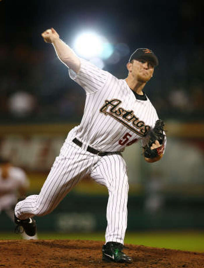 Closer Brad Lidge worked a 1-2-3 ninth inning to get his 23rd save of the season. Photo: Steve Ueckert, Chronicle File