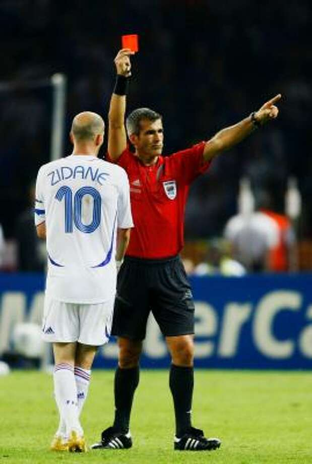Zinedine Zidane of France is shown a red card by Referee Horacio Elizondo of Argentina during the FIFA World Cup Germany 2006 Final match between Italy and France on Sunday. Photo: Shaun Botterill, Getty Images