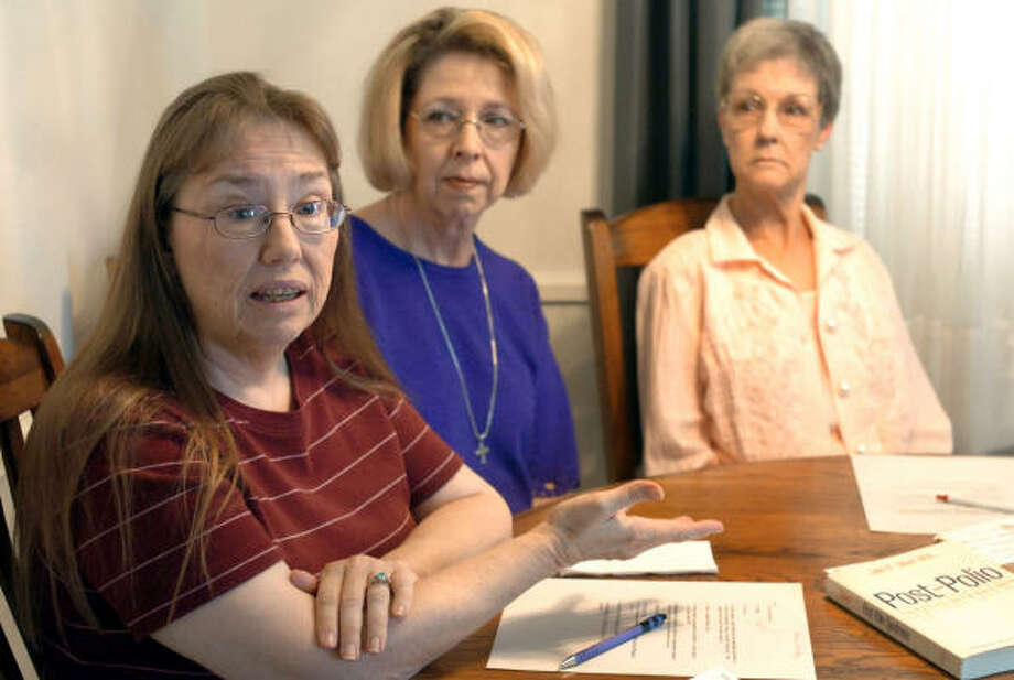 Post-polio syndrome has forced Anne Atwood, left, Susie Huffington and Alma Studer-Herod to face their early childhood struggle with polio once again. Photo: JIM WATKINS, Lubbock Avalanche Journal