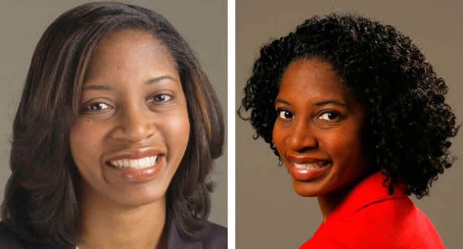 On the left, Shannon Buggs with chemically straightened hair. On the right, her natural hair.
