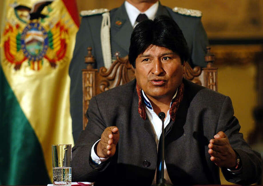 President Evo Morales as well as the conservative opposition party declared Monday that Bolivia must not back down from an Oct. 28 deadline to complete the nationalization of the country's oil and gas industry. Photo: JUAN KARITA, AP