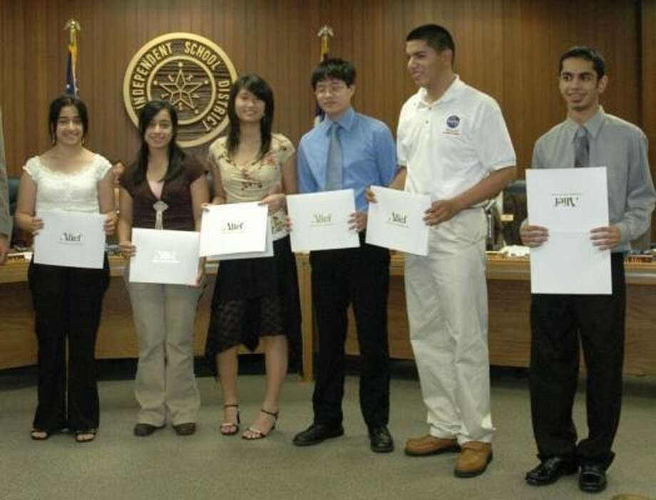 The Alief ISD board of trustees recently acknowledged, from left, Anoosheh Razian, Afrand Razian, Natalie Nguyen Tham, Andrew Mai, Alex Espitia and Kunal Bhutani. Photo: Courtesy Of Alief ISD