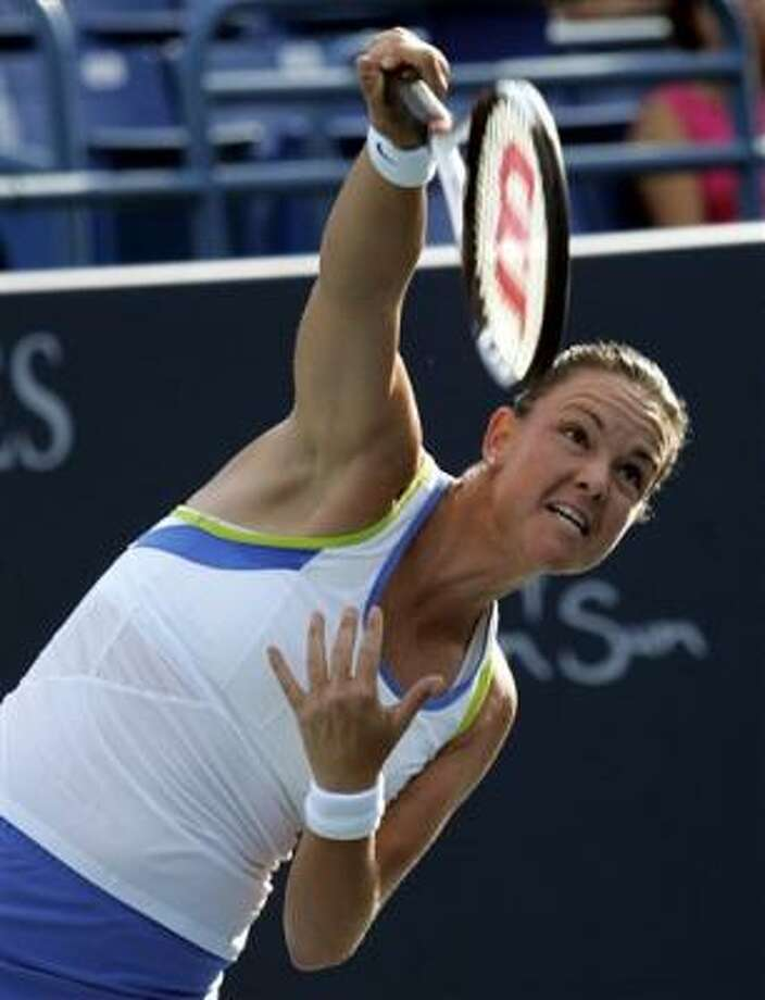 Lindsay Davenpor shows her winning form during Tuesday's match in Barcelona. Photo: BOB CHILD, AP