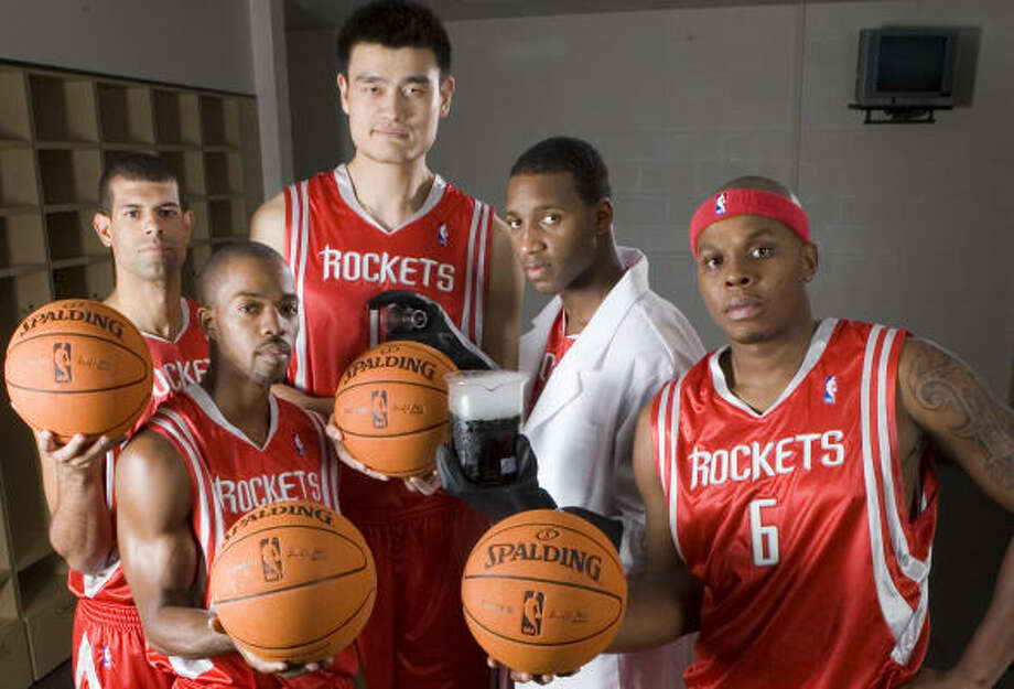 The Rockets hope Yao Ming, Tracy McGrady, Bonzi Wells, Rafer Alston and Shane Battier will be the right mix. Photo: BRETT COOMER, CHRONICLE