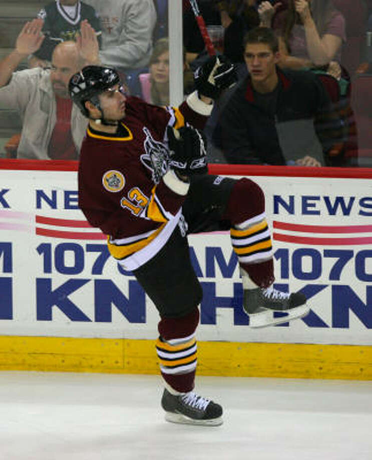 Kyle Wanvig celebrates a goal in the second period for Chicago. Wanvig appeared in 239 games for the Aeros earlier in the decade. Photo: Bob Levey, For The Chronicle