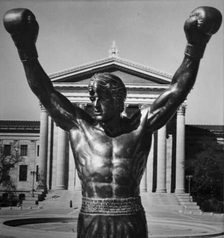Rocky then has a statue dedicated to him in front of the Philadelphia Museum of Art, whose steps he famously ran up while training in the first movie. Clubber Lang (Mr. T) interrupts the festivities, calling Rocky out for 'ducking' him, and Rocky agrees to fight the challenger. Photo: AMY SANCETTA, AP