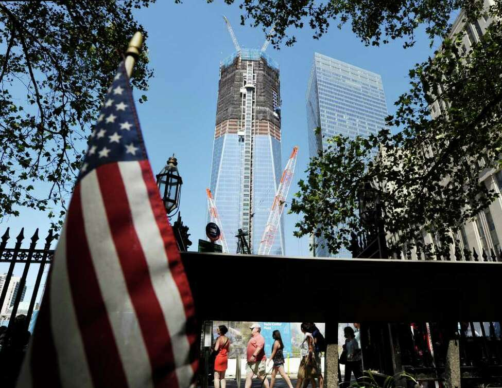 As seen from St. Paul's church, the Freedom Tower, also known as One World Trade Center, New York City, Thursday, Aug. 11, 2011, under construction a month before the 10th anniversary of 9/11. ( Bob Luckey / Hearst Newspapers )