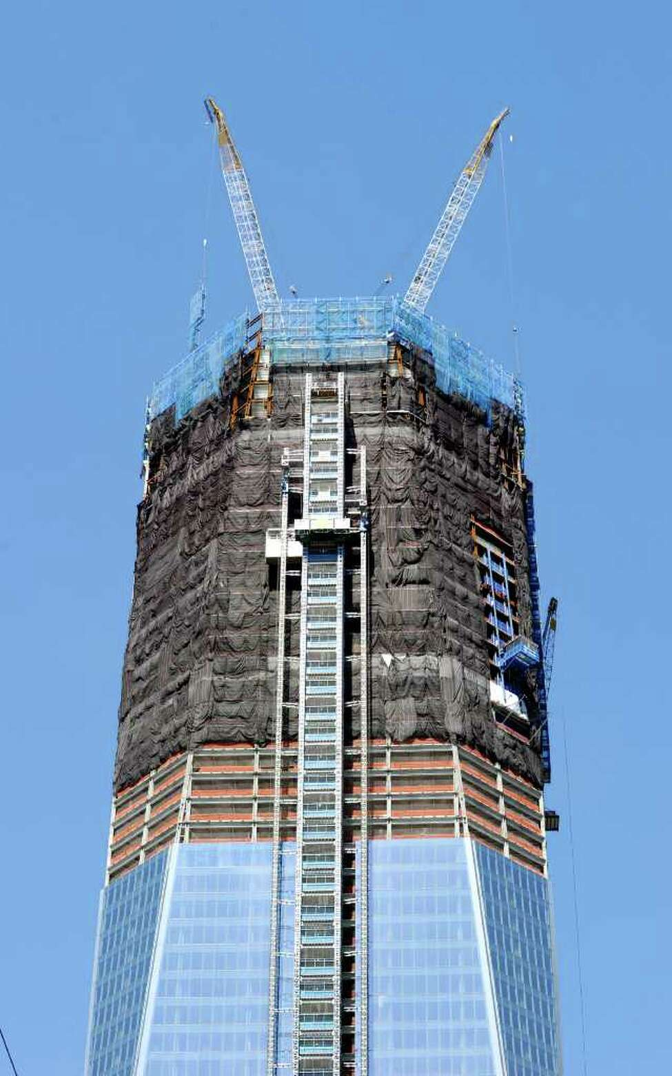 The Freedom Tower, also known as One World Trade Center, New York City, Thursday, Aug. 11, 2011, under construction a month before the 10th anniversary of 9/11. ( Bob Luckey / Hearst Newspapers )